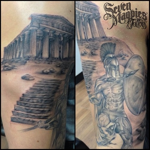 Spartan_all_healed_up_now__added_the_Acropolis_and_started_to_freehand_some_background_in_today__sevenmagpiestattoos